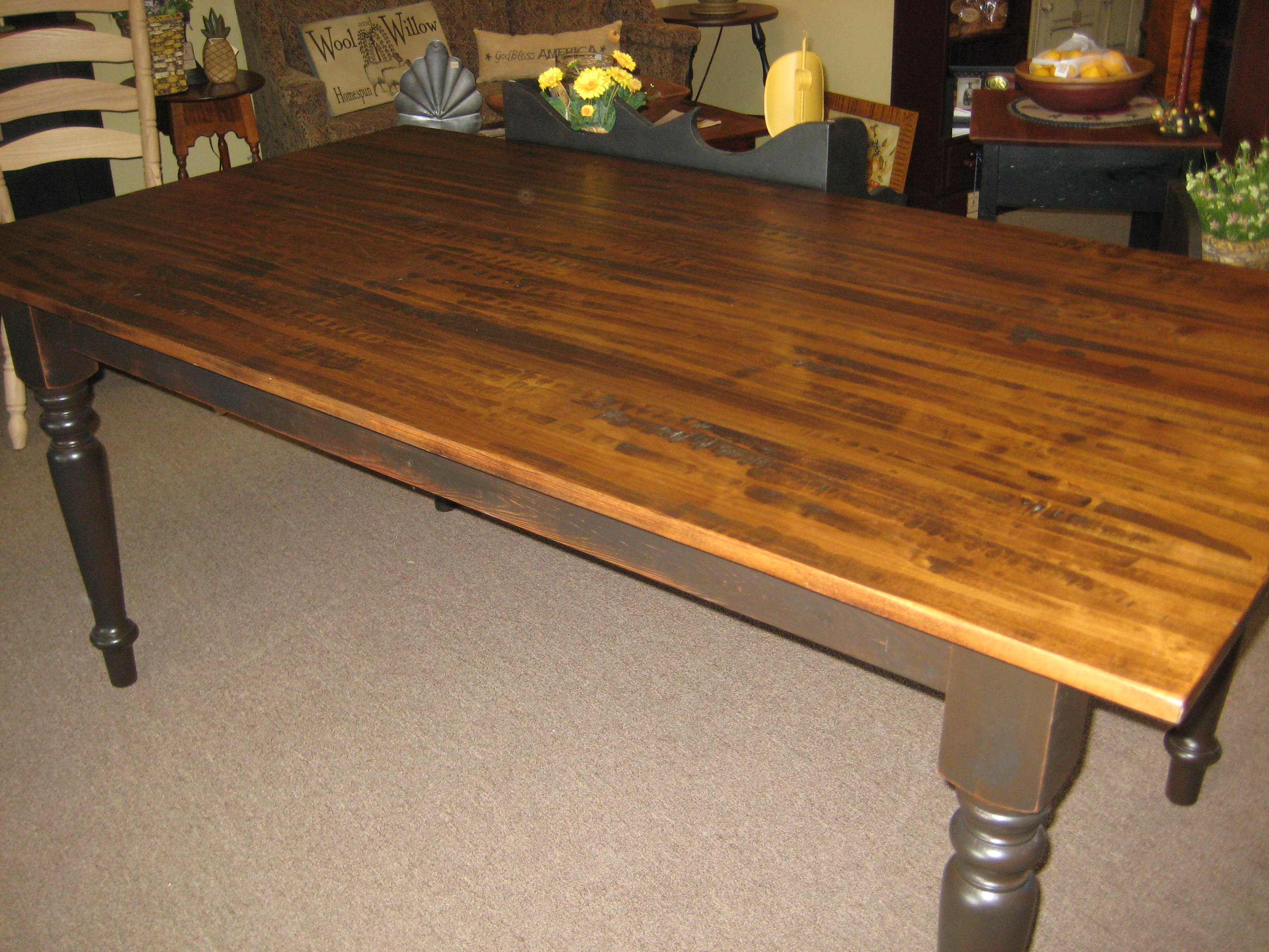Delightful Harvest Table With Hand Scraped Brown Maple Top