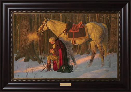 Prayer at Valley Forge Mahogany Frame