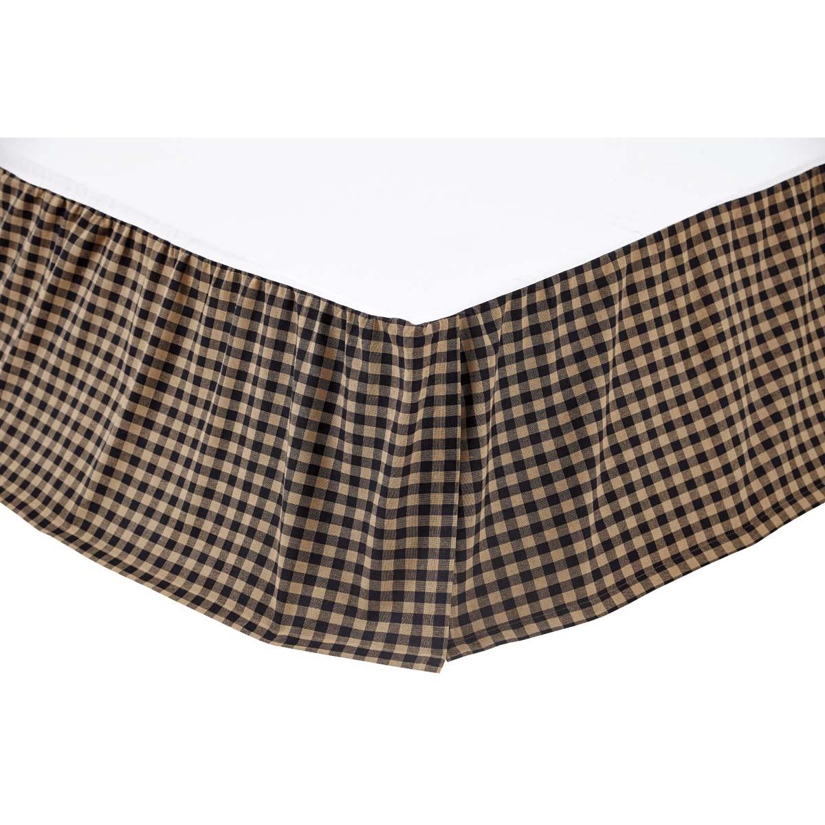 Black Check King Bed Skirt 78x80x16