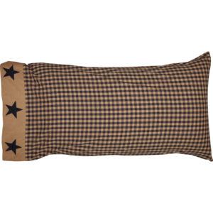 Teton Star King Pillow Case w/Applique Star Set of 2 21x40