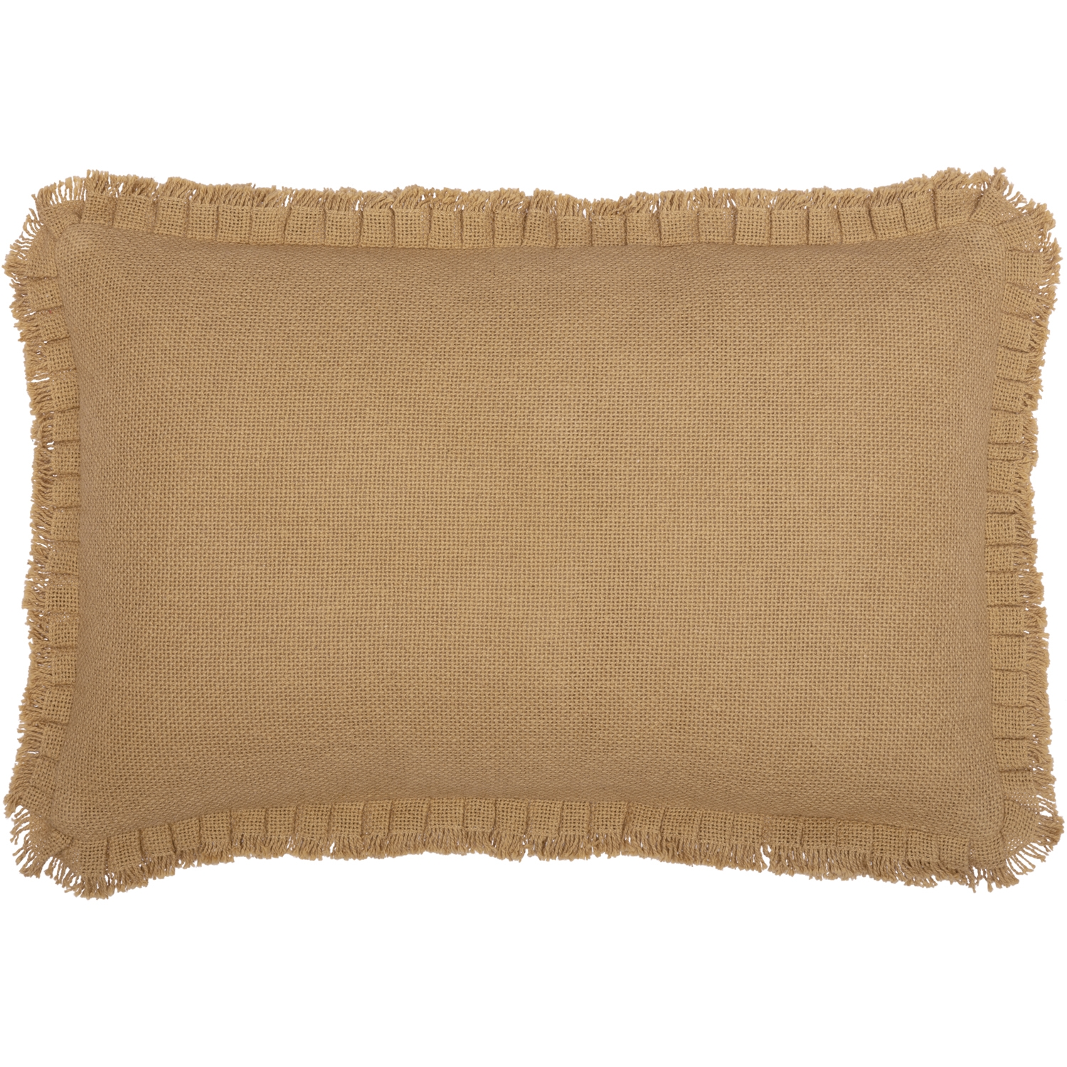 Burlap Natural Pillow w/ Fringed Ruffle 14x22