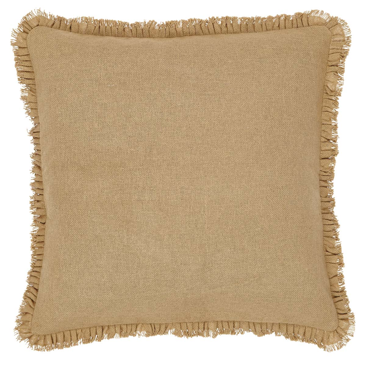 Burlap Natural Fabric Euro Sham w/ Fringed Ruffle 26x26