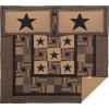 Black Check Star King Quilt Set; 1-Quilt 105Wx95L w/2 Shams 21x37