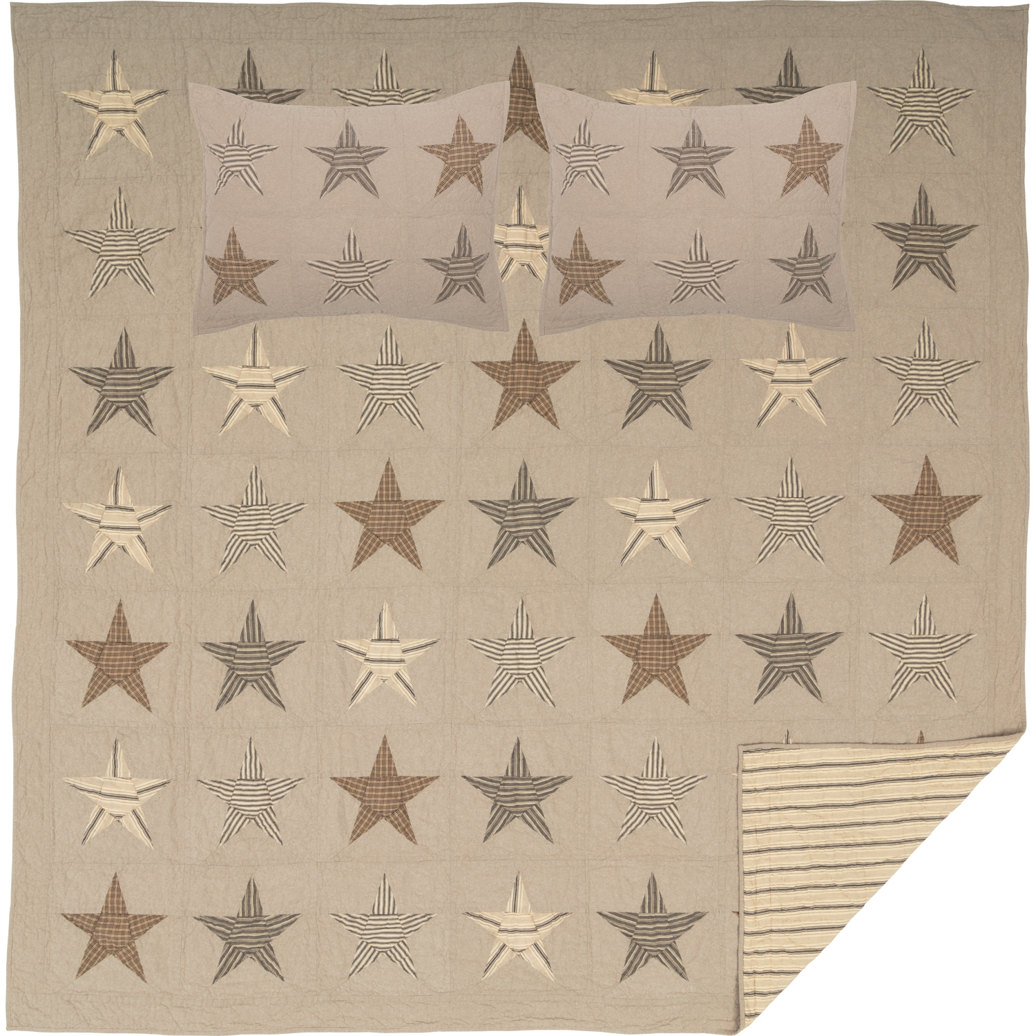 Sawyer Mill Star Charcoal Queen Quilt Set; 1-Quilt 90Wx90L w/2 Shams 21x27